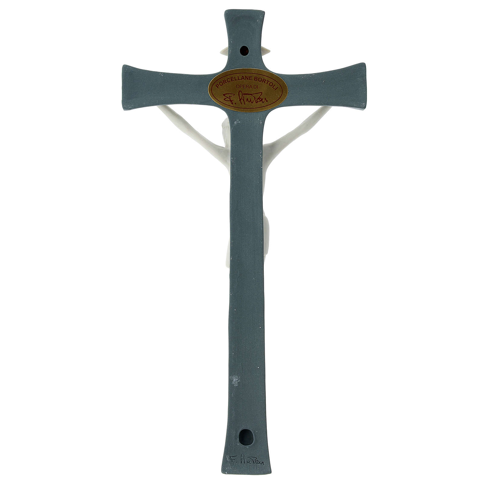 Crucifix in porcelain grey background 20 cm 4