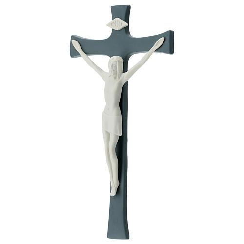 Crucifix in porcelain grey background 20 cm 3