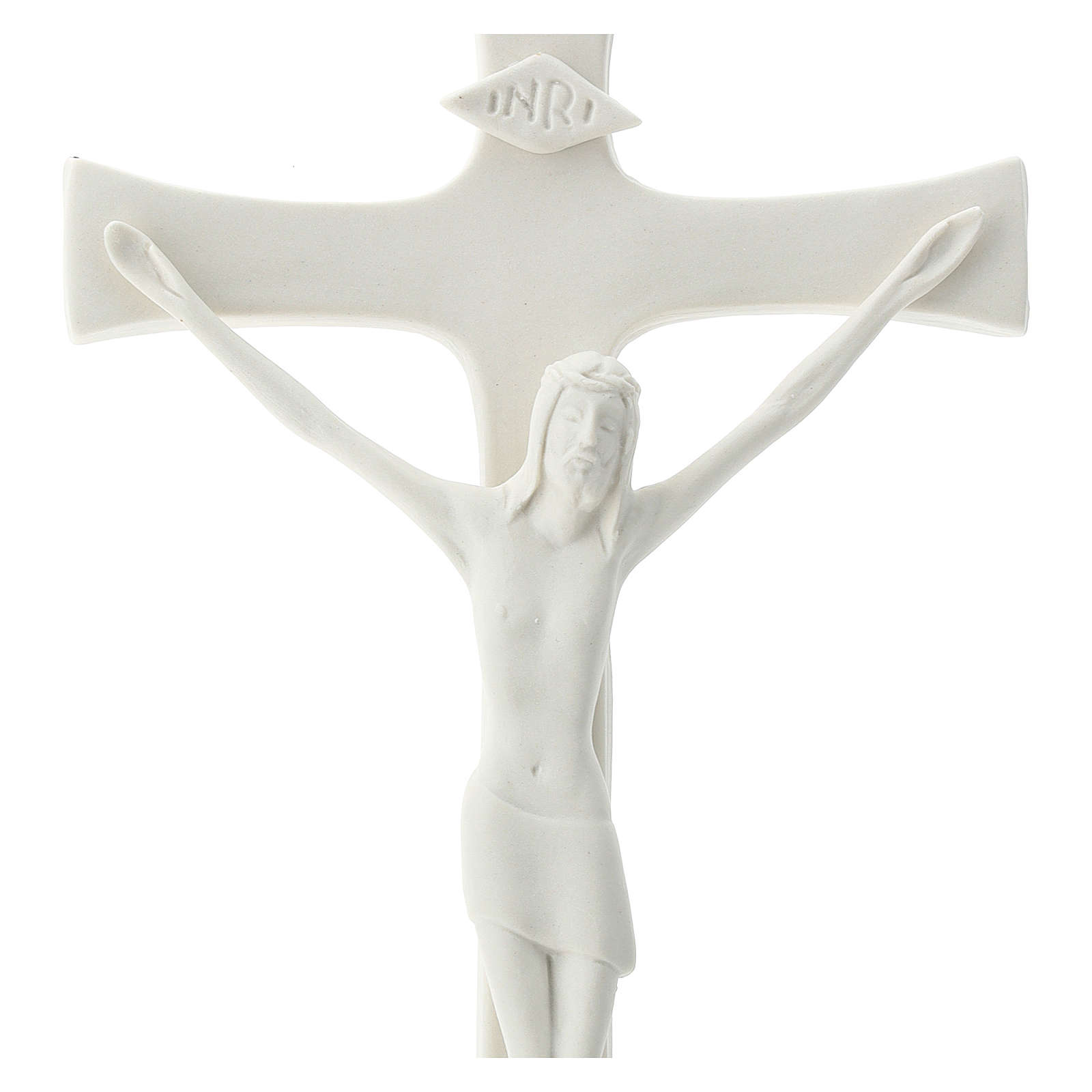 Crucifix in porcelain wooden base 20 cm 4