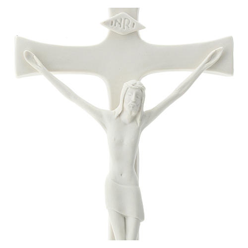 Crucifijo porcelana base madera 20 cm 2