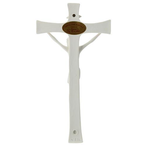 Crucifijo porcelana base madera 20 cm 4