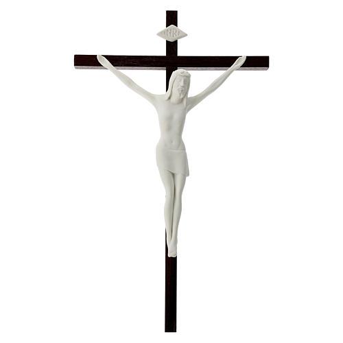 Crucifijo madera y porcelana 35 cm 1