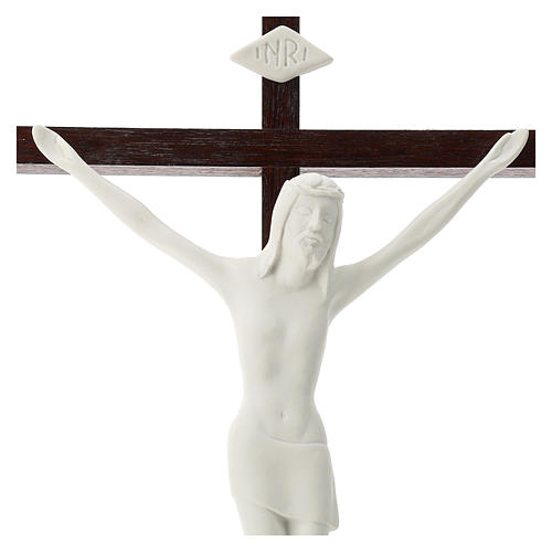 Crucifijo madera y porcelana 35 cm 2