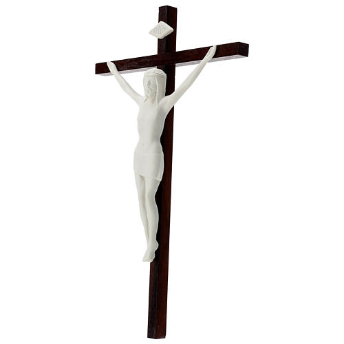 Crucifijo madera y porcelana 35 cm 3