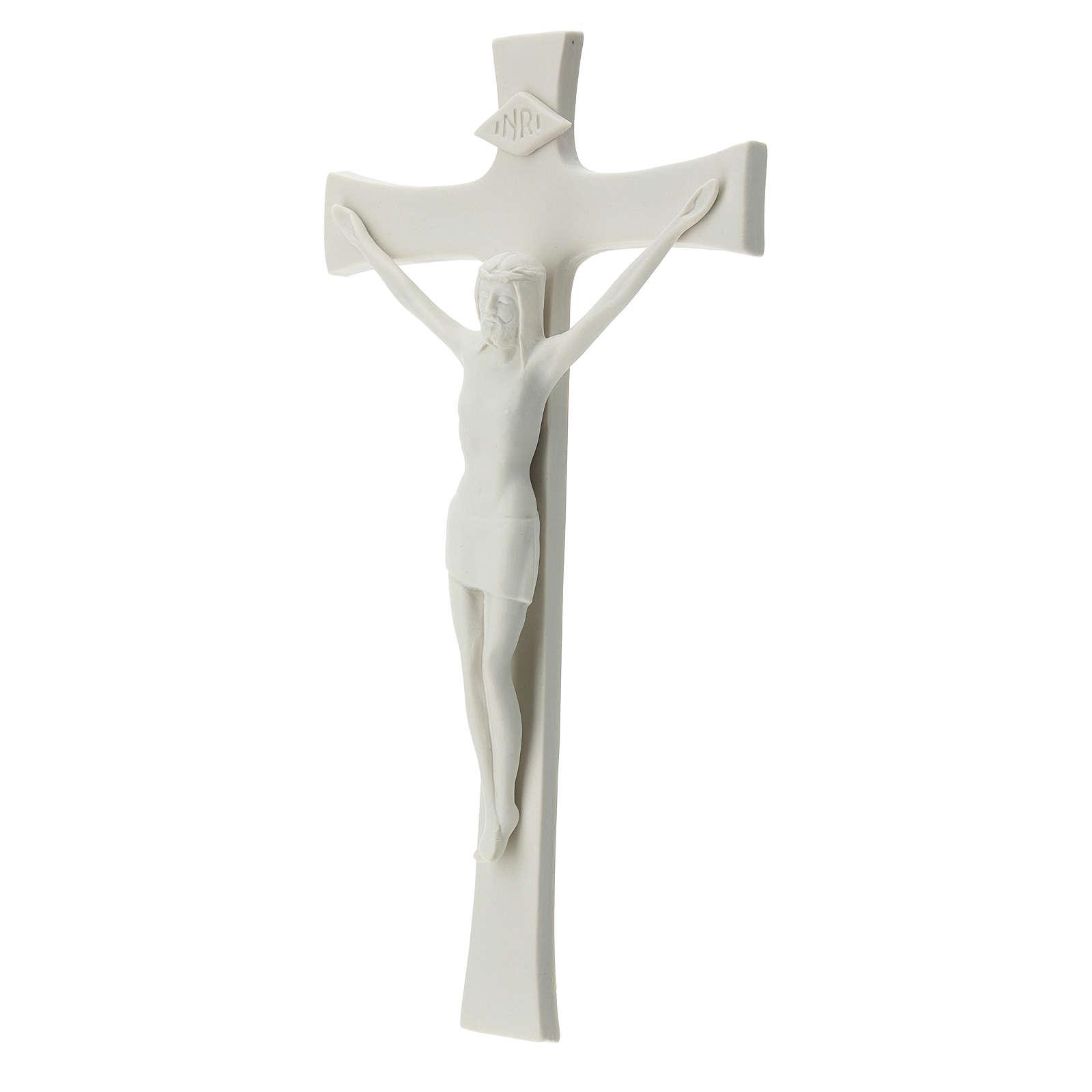Crucifijo 30 cm porcelana blanca 4