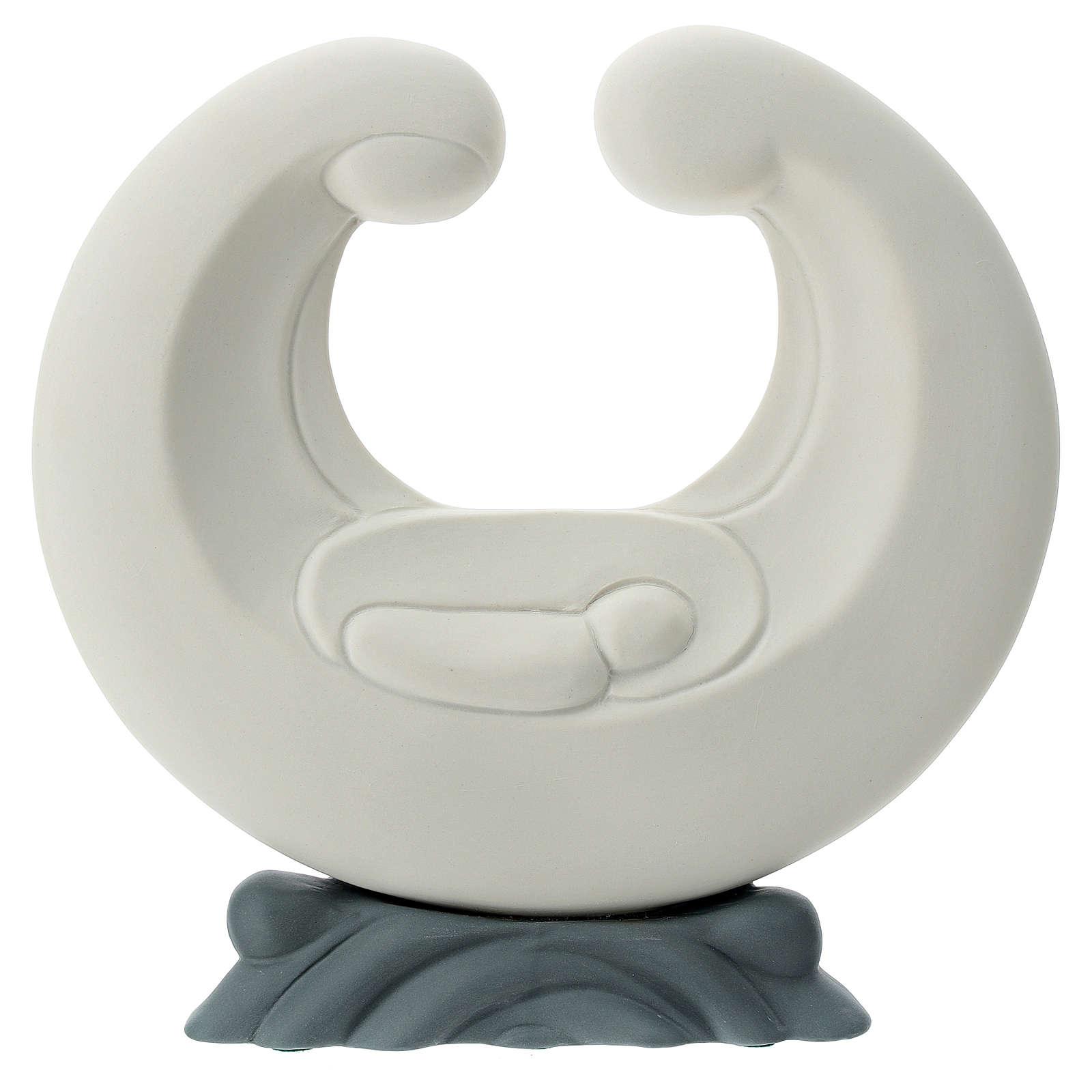 Stylised Holy Family in porcelain grey base 20 cm 4