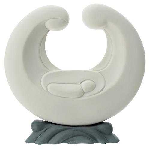 Stylised Holy Family in porcelain grey base 20 cm 1