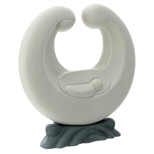 Stylised Holy Family in porcelain grey base 20 cm 3
