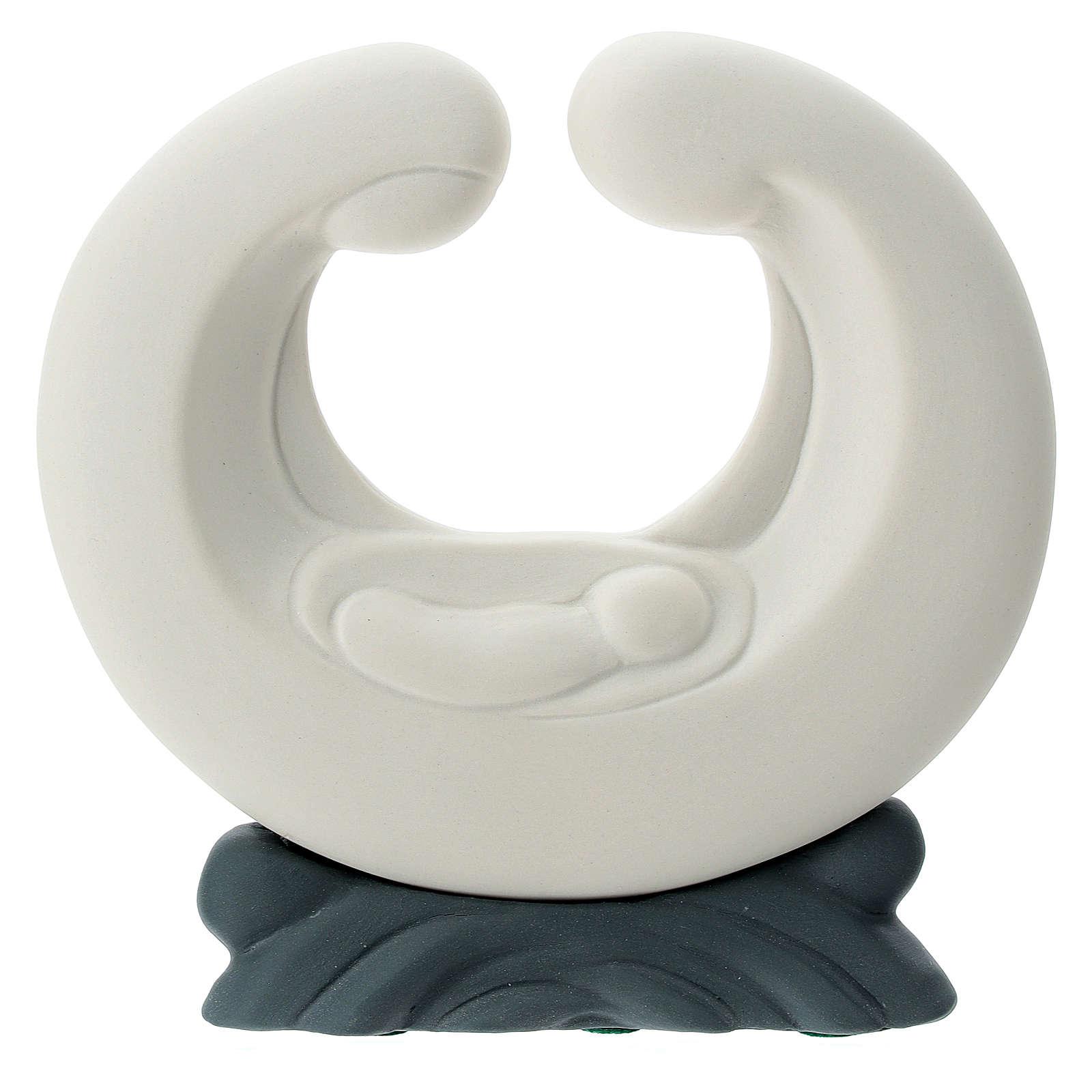 S. Famiglia porcellana bianca base grigia 15 cm 4
