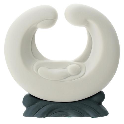 S. Famiglia porcellana bianca base grigia 15 cm 1