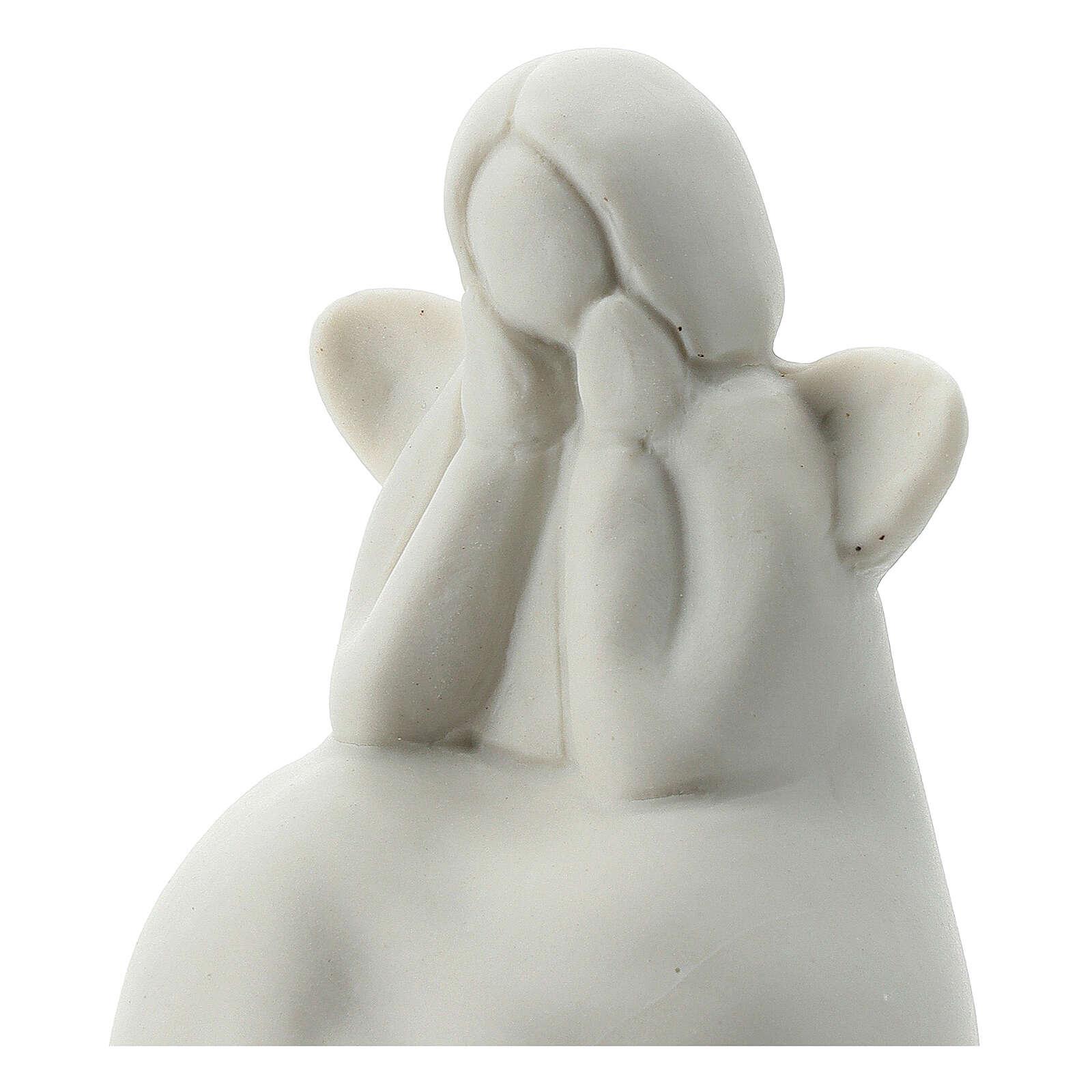 Angelo seduto 6 cm porcellana bianca 3