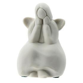 Angelo seduto 6 cm porcellana bianca s1