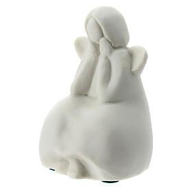 Angelo seduto 6 cm porcellana bianca s3
