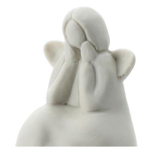 Angelo seduto 6 cm porcellana bianca 2