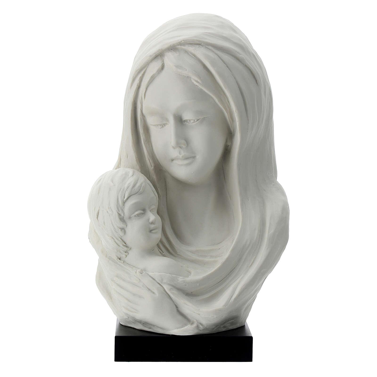 Busto Madonna con bambino su base legno 25 cm 4