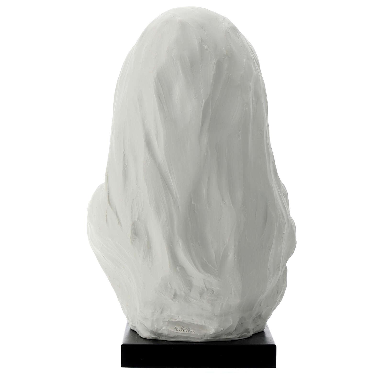Busto Madonna con bambino su base legno 30 cm 4