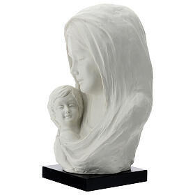 Busto Madonna con bambino su base legno 30 cm s2