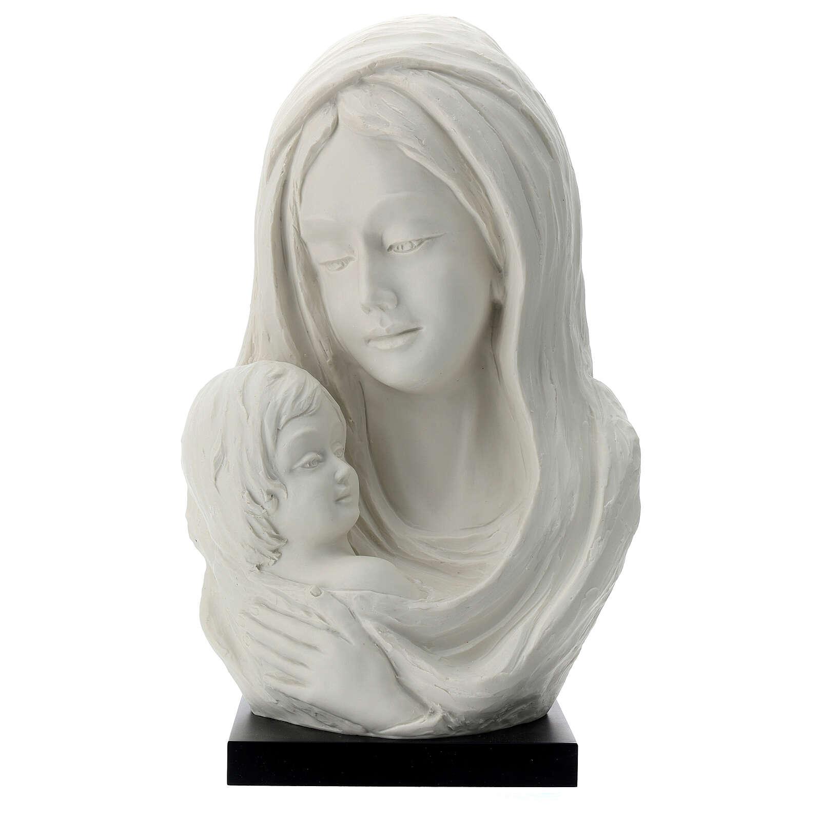 Busto Madonna con bambino su base legno 35 cm 4