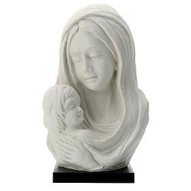 Busto Madonna con bambino su base legno 35 cm s1