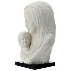 Busto Madonna con bambino su base legno 35 cm s2