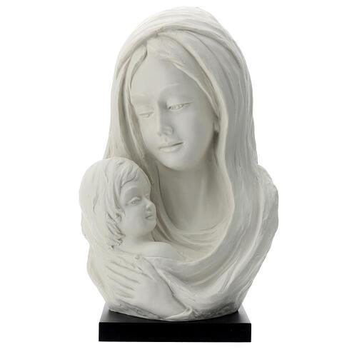 Busto Madonna con bambino su base legno 35 cm 1