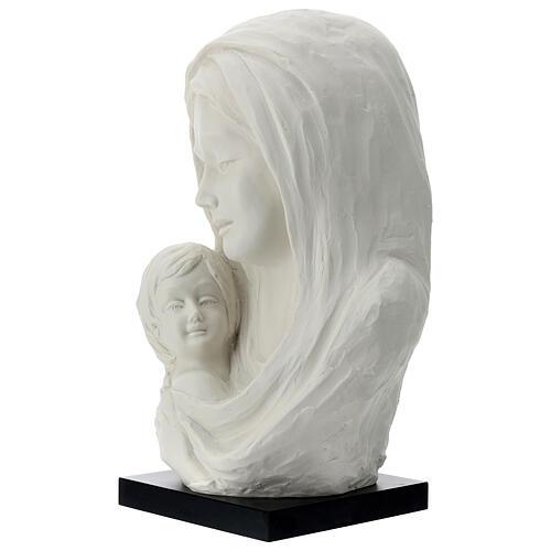 Busto Madonna con bambino su base legno 35 cm 2
