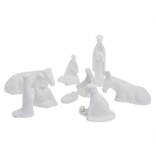 Crèche Noel complète porcelaine blanche mignon 16 cm Pinton 1