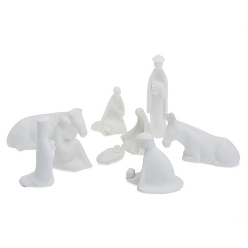 Nativity set white porcelain mignon 16 cm Pinton 1