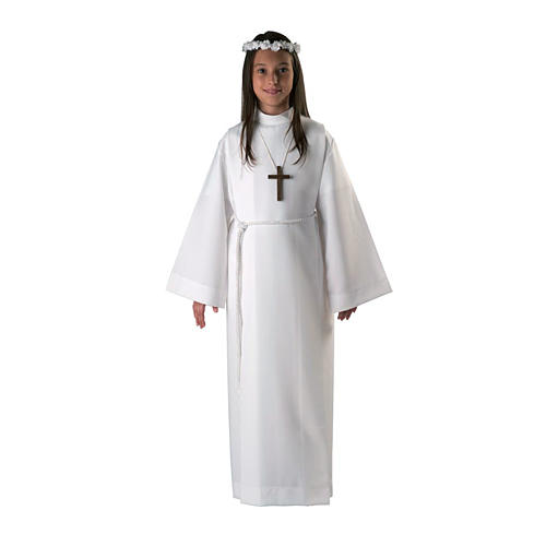 Holy Communion alb for girls with 2 pleats 1