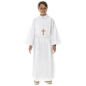 Aubes communion, profession de foi: Aube communion deux plis faux capuchon