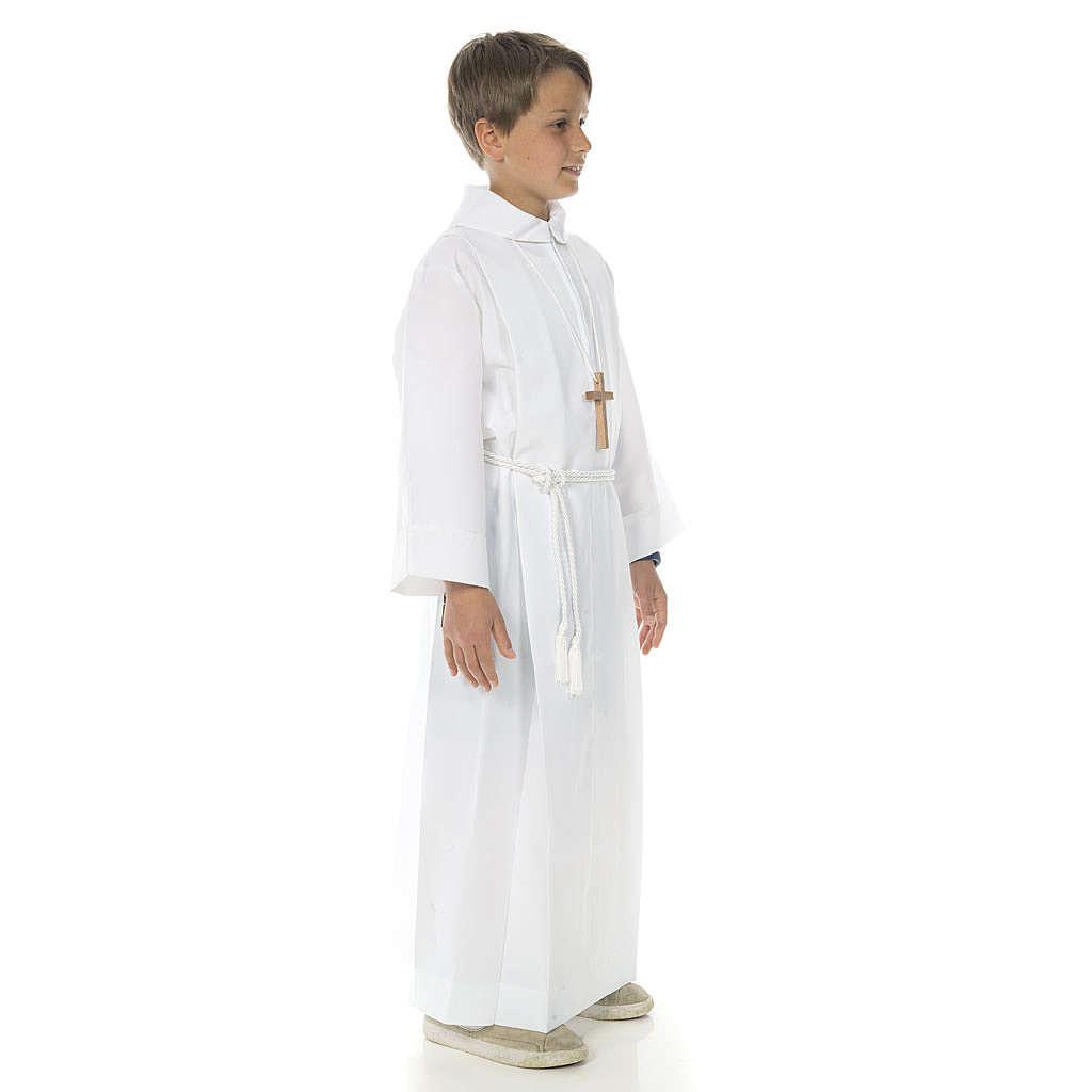 First communion alb with 2 pleats fake hood 4