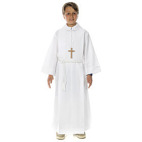 First Communion Albs: Holy Communion Alb with 2 pleats fake hood