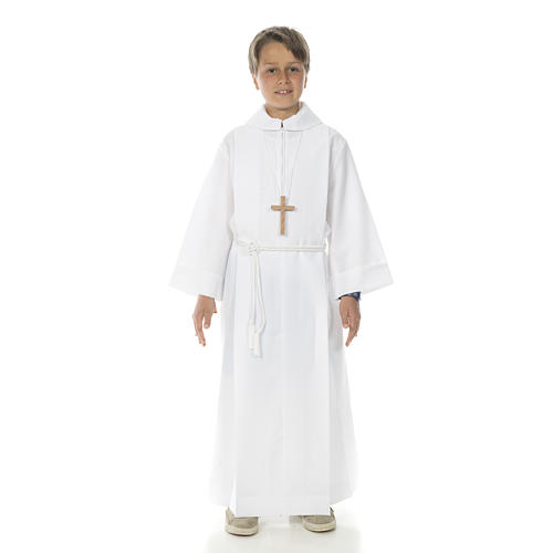 Holy Communion Alb with 2 pleats fake hood 6
