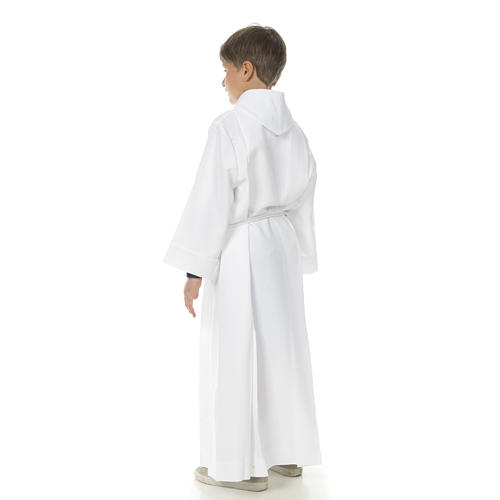 Holy Communion Alb with 2 pleats fake hood 8