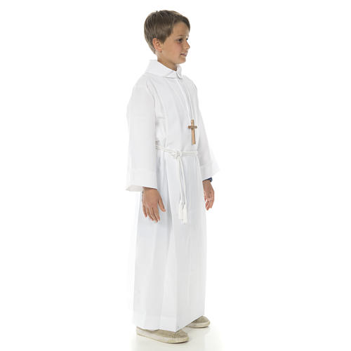 Holy Communion Alb with 2 pleats fake hood 9