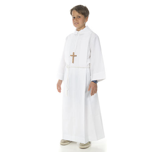 Holy Communion Alb with 2 pleats fake hood 2