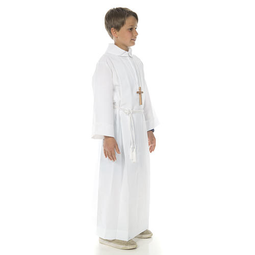 First communion alb with 2 pleats fake hood 3