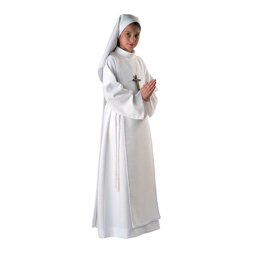 Aube communion fille scapulaire dentelle 4