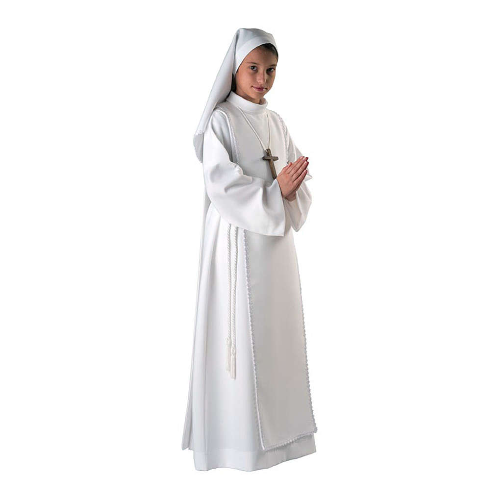 Alba komunijna dla dziewczynki szkaplerz koronka 4