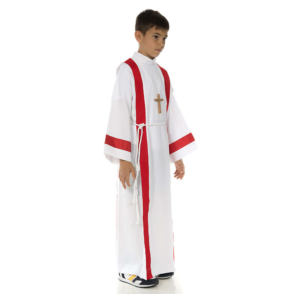 First Holy Communion alb with red edges 4
