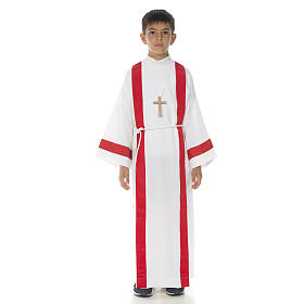 First Holy Communion alb with red edges s7