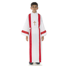 First Holy Communion alb with red edges s1