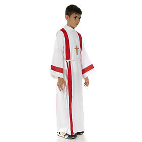 First Holy Communion alb with red edges s2