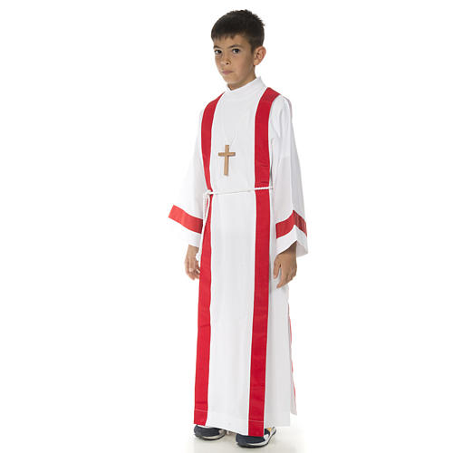 First Holy Communion alb with red edges 3