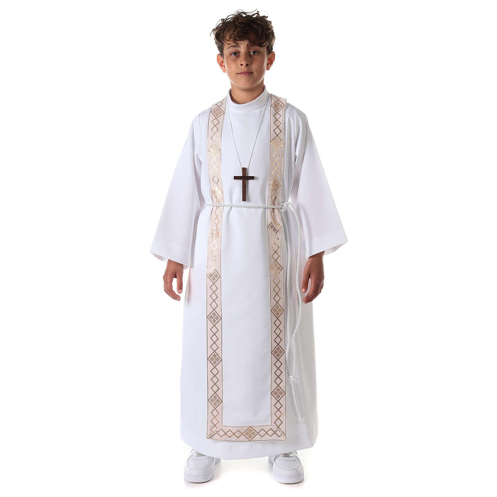 Aube communion fille scapulaire bord or 4