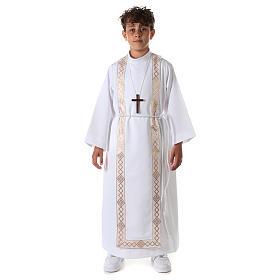 Aube communion fille scapulaire bord or s3