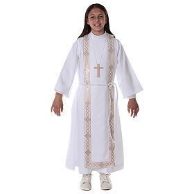 Aube communion fille scapulaire bord or s4