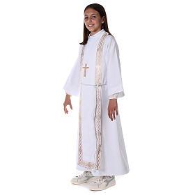 Aube communion fille scapulaire bord or s6
