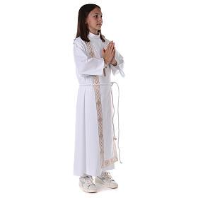 Aube communion fille scapulaire bord or s8