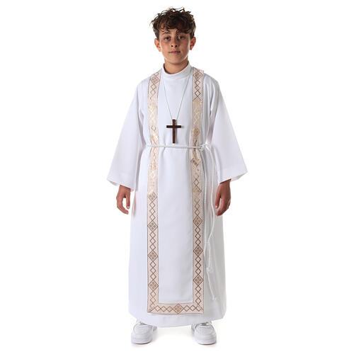 Aube communion fille scapulaire bord or 3